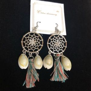 Silver Cotton Dream Catcher Earrings